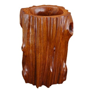 Vintage Chinese Naturalistic Carved Rosewood Brush Pot For Sale