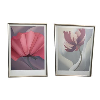 Nancy Denison Oversized Flower Lithographs-A Pair For Sale