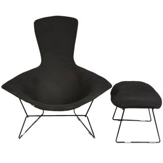 Vintage Bertoia Bird Chair and Ottoman with Full Cover in Classic Black Boucle For Sale