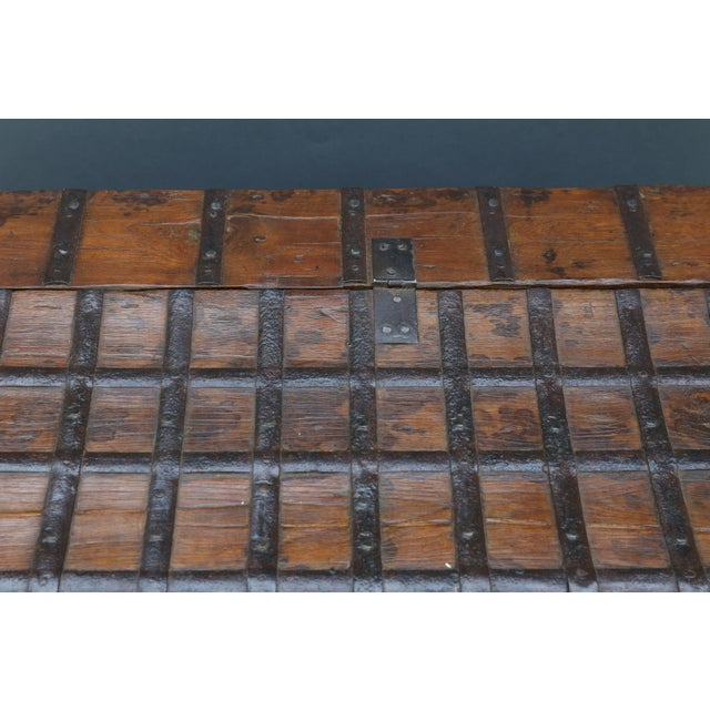 British Colonial Iron Bound Trunk Coffee Table Chest For Sale - Image 11 of 13