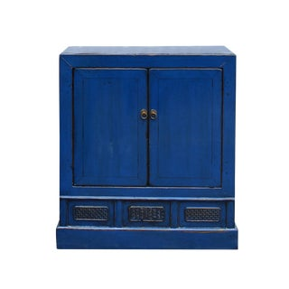 Chinese Distressed Rustic Azure Cobalt Blue Foyer Console Table Cabinet For Sale