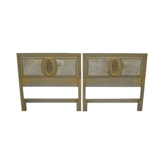 Rococo Style Vintage Pair Painted Cane Back Headboards For Sale