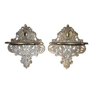 Renaissance Revival Style Metal Brackets - A Pair For Sale