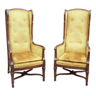 Tall Wing Back Tufted Yellow Chairs-A Pair For Sale
