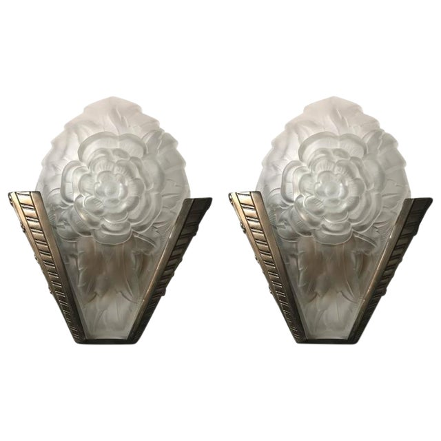 Degue Signed French Art Deco Sconces - A Pair - Image 1 of 8