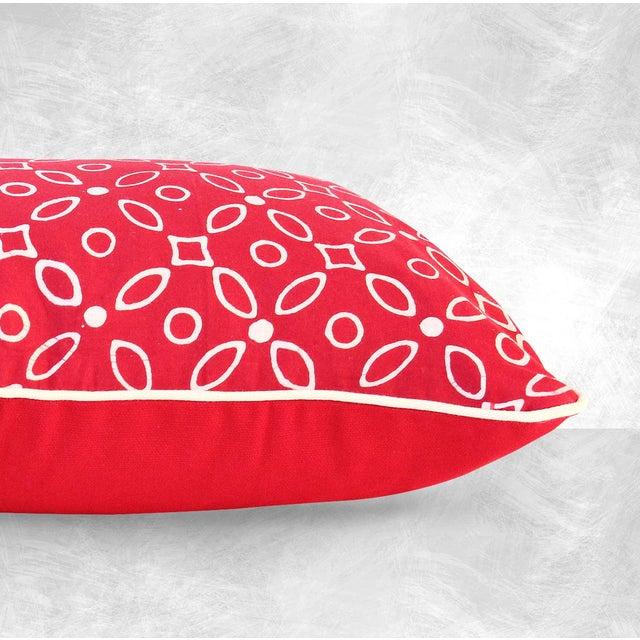 """Red Kawung"" Java Batik Pillow - Image 4 of 4"