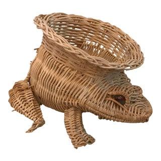 Vintage Natural Wicker Frog Shaped Planter Basket For Sale