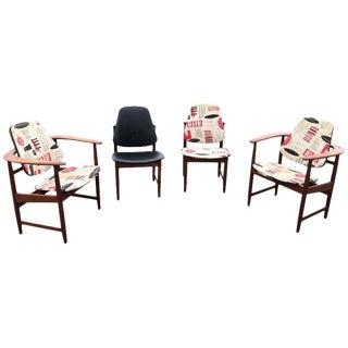Vintage Mid Century Arne Hovmand Olsen Danish Teak Armchairs and Side Chairs- Set of 4 For Sale