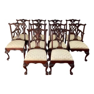 1990s Vintage Henredon Mahogany Chippendale Chairs - Set of 10 For Sale
