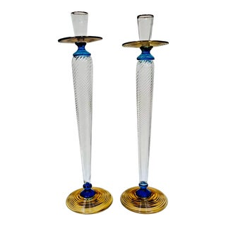 Tiffany & Co. Studio Paran Post Modern Blown Glass Candle Holders - a Pair For Sale