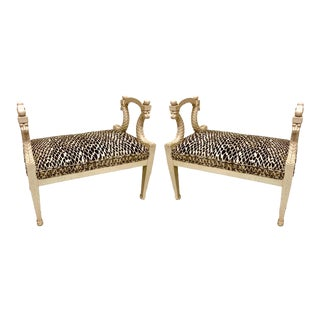 Pair of Hollywood Regency Style Benches For Sale