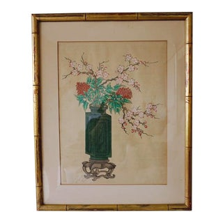 Chinese Hand Painted Asian Vase and Flowers Painting on Silk With Custom Frame For Sale