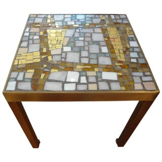 1960s Hollywood Regency Brass Table with Ceramic Mosaic Top For Sale