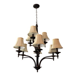 "Visual Comfort Thomas O'Brien Reed 9-Light 29"" Bronze Chandelier For Sale"