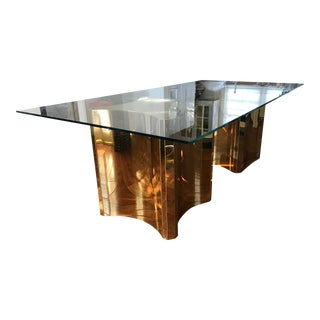 Mid-Century Modern Glass Dining Table With Brass Bases For Sale
