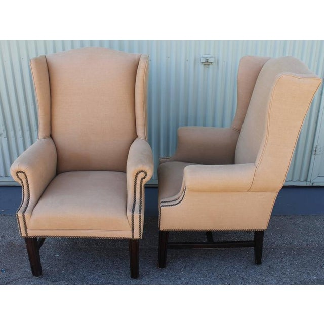 Linen Pair of Fantastic 1920s Wing Chairs in Mocha Linen For Sale - Image 7 of 7