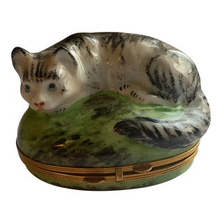 Early 20th Century Piotet Limoges Tabby Cat Hinged Trinket Box For Sale