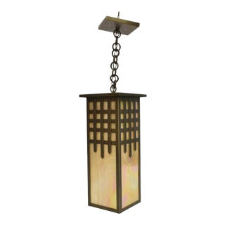 American Arts & Crafts Castle Gate Chain Hung Lantern With Iridescent Slag Glass by Brass Light Gallery For Sale
