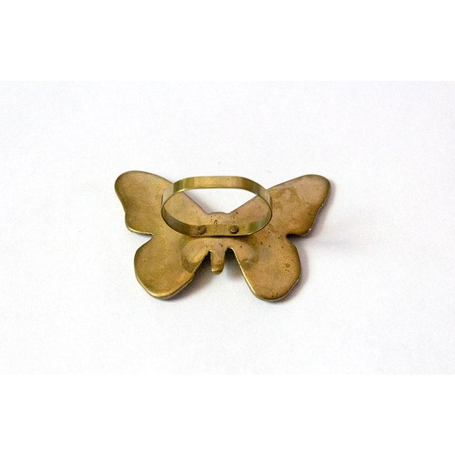 Brass Vintage Mid-Century Brass Butterfly Napkin Rings - Set of 4 For Sale - Image 7 of 9