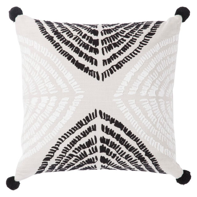 Contemporary Nikki Chu by Jaipur Living Angelika Black/ Silver Textured Poly Throw Pillow For Sale - Image 3 of 3