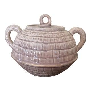Vintage Brown Majolica Sugar Bowl With Handles For Sale