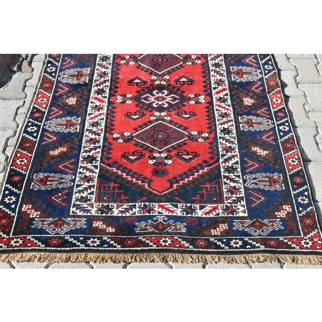 1980s Turkish Oushak Aztec Rug Anatolian Hand Knotted Wool Area Rug Authentic Oriental Rug 4x6 Ft For Sale - Image 5 of 11
