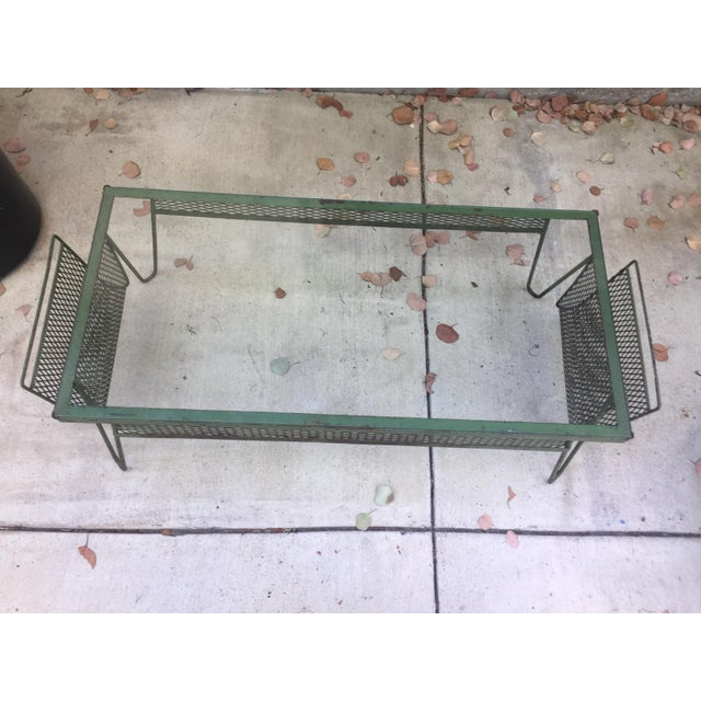 Green Unique Iron & Glass Mid-Century Modern Outdoor Indoor Patio Coffee Table For Sale - Image 8 of 12