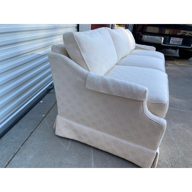 Wood Mid-Century White Tuxedo Skirted Sofa For Sale - Image 7 of 13