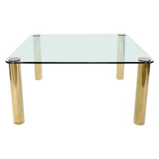 Large Square Thick Glass Top Dining Table on Brass Cylinder Legs For Sale