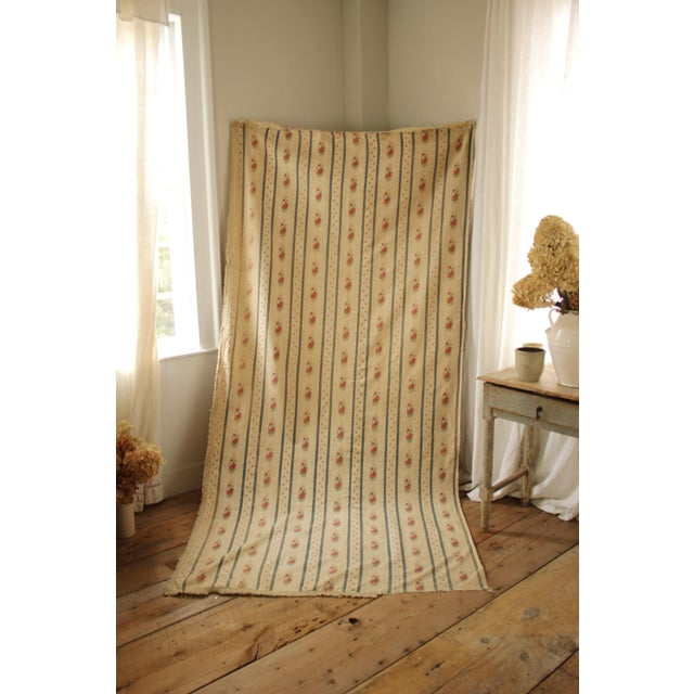 Antique French Blue Striped Floral Curtain For Sale - Image 6 of 10