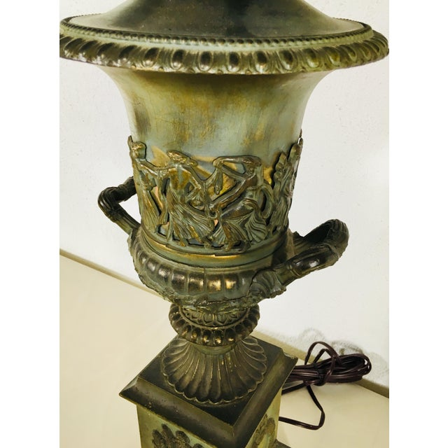 Gold Mid-Century Classical Urn Lamps – a Pair For Sale - Image 8 of 12