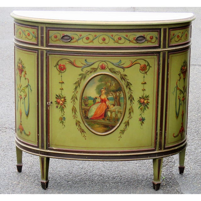 Louis XV Adams Style Paint Decorated Commodes - A Pair For Sale - Image 3 of 9