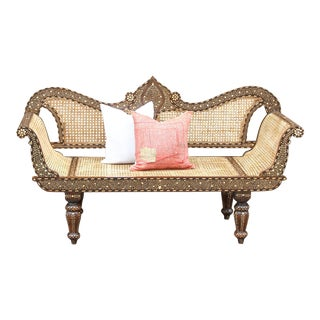 Majestic Royal Bone Inlay Settee Bench For Sale
