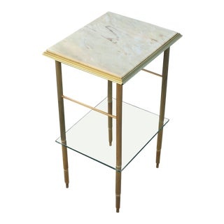 1940s Maison Jansen Art Deco Brass Onyx Top Accent / Side Table For Sale