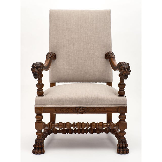 French Louis XIII Style French Armchairs For Sale - Image 3 of 10