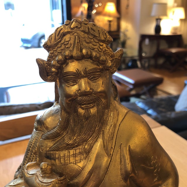 Brass Chinese God of Wealth Sculpture For Sale - Image 5 of 9