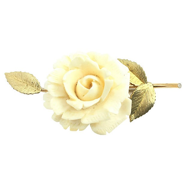 Metal Krementz Rose Earrings, Brooch & Pendant For Sale - Image 7 of 8
