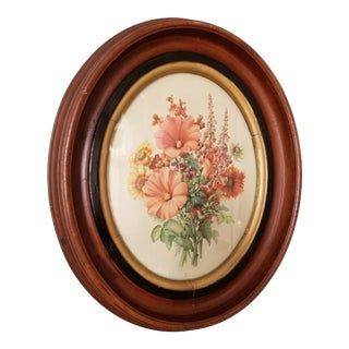 Victorian Oval Picture Frame With Hollyhock Print For Sale