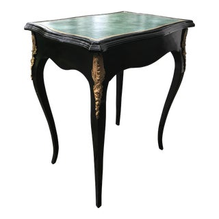 1920s Louis XV Style Black Lacquered Side Table For Sale