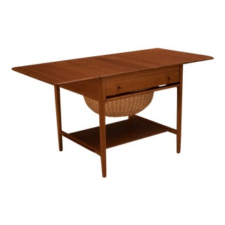 Vintage Mid-Century Danish Hans Wegner Teak Sewing Table For Sale