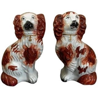 Pair of #6 Staffordshire England Red Seated Spaniel Dogs For Sale