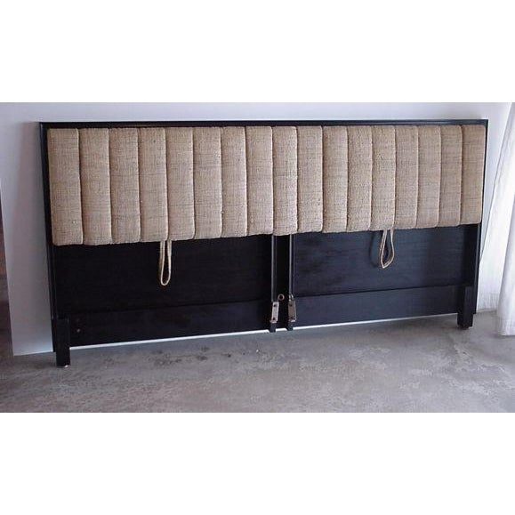 Mahogany framed headboard tilts for comfortable reading slant, has rubber-filled channels, four of which drop down as arm...