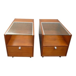 Early Herman Miller George Nelson Glass Top End Tables / Nightstands - a Pair For Sale
