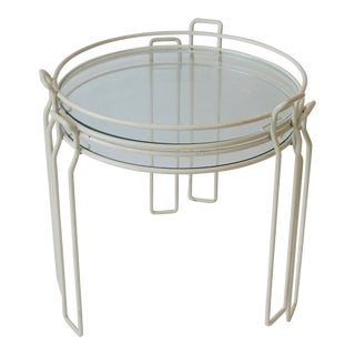 Pair 20th Century Swedish Modern White Metal and Glass Side Nesting Tables For Sale