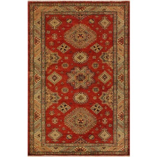 Super Kazak Garish Belva Red/Ivory Wool Rug - 4'1 X 5'8 For Sale