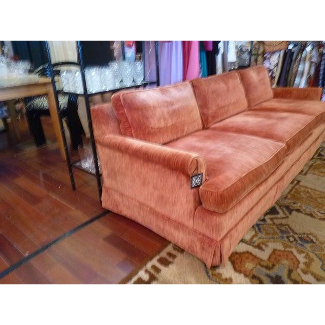 Coral Velvet Sofa For Sale - Image 4 of 9