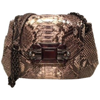 Judith Leiber Natural Grey Python Snakeskin Shoulder Bag For Sale