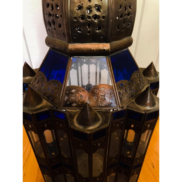 1960s 1960s Moroccan Brass and Cerulean Glass Lantern For Sale - Image 5 of 10