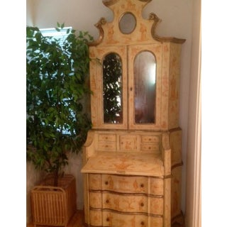 19th C. Italian Hand Painted Secretary Bookcase With Chinoiserie Decor Preview