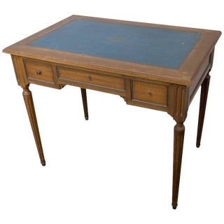 Small Ebonized Mahogany Writing Desk With Blue Green Leather Top For Sale